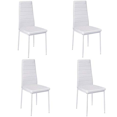 Essgruppe Tischgruppe Esstisch Stuhl Set Tischgruppe Esstischgruppe Sitzgruppe Esszimmergarnitur Glas Metall Esstisch (Weiß, 4 Stühle)