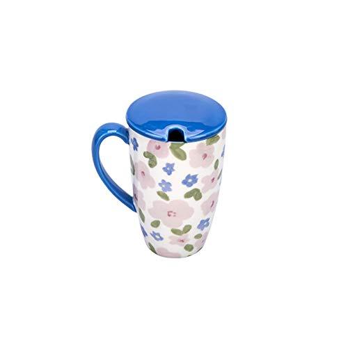 YICHOU Tazas de Vidrio 450ml Flor de Gran Capacidad Taza de cerámica de Jugo de cerámica Taza de Agua con Cucharada Tapa de microondas Desayuno láctea de la Leche (Color : Blue, Size : 450ml)