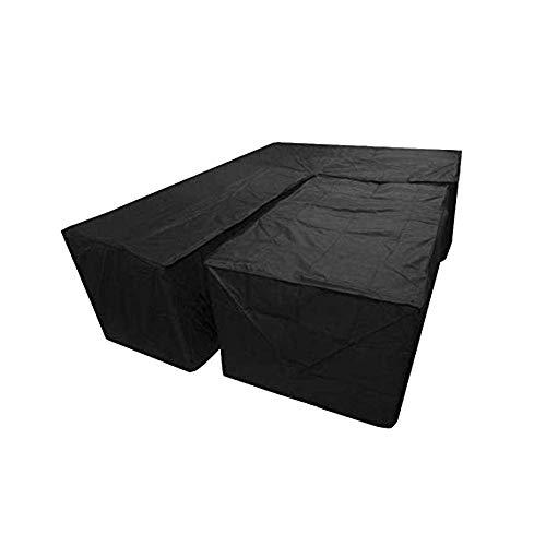 Iwinna Set of 2 Furniture Cover L Shape Waterproof Dustproof Cube Corner Furniture Sofa Rattan Black Cover for Garden Outdoor