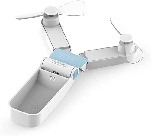 Makeupart Mini Ventilador de Mano portátil, Ventilador de Bolsillo Personal Ventilador USB pequeño Ventiladores de Mano con batería Recargable para Viajes en casa (Color : White)