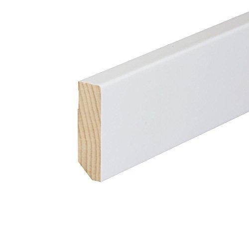 Sockelleiste Echtholz massiv lackiert Cube weiß (16 x 78 x 2400 mm)