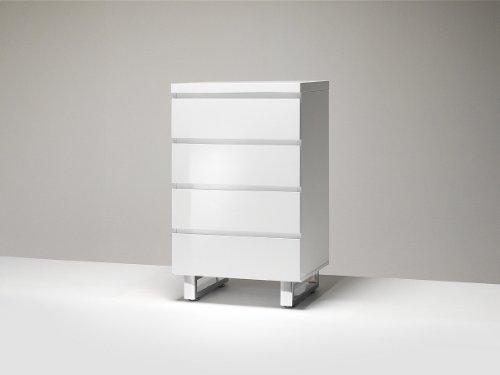 Robas Lund 48905W1 Sydney Kommode, 4 Schubkästen, Chromfüße, 56 x 93 x 42 cm, Hochglanz weiß