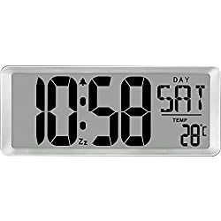TXL Jumbo Digital Alarm Clock Battery Operated, Large Day Wall Clock, Custom Alarm/Count up-Down Timer, Calendar Temp 12/24Hr Reminder, 14.17 Clock with 4.6 Digits for Home Office University-Silver