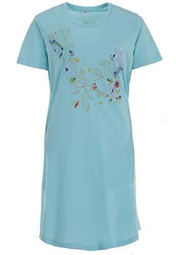 Zeitlos Nachthemd Birdie Kurz Schlafshirt Kurzarm Print, Farbe:Mint, Größe:XL