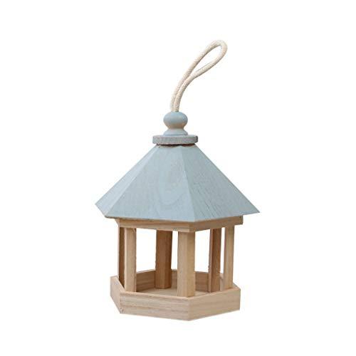 ZJL220 Blaues Dach Holz hängendes Haustier Vogelhäuschen Sechseckiger Pavillon geformte Outdoor-Lebensmittelspender Gartenhof Veranda Dekoration