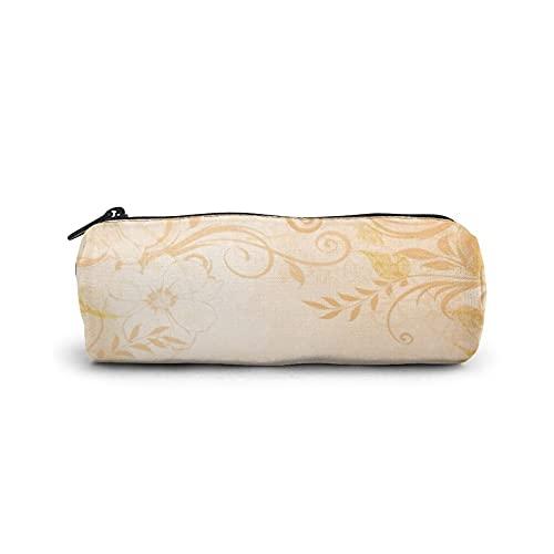 Estuche para bolígrafo, bolsa de cosméticos cilíndrica, bolsa de papelería multifuncional con cremallera para suministros escolares y de oficina, mariposa de melocotón floral