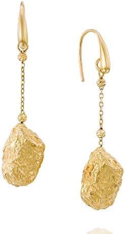 14k Gold Drop Earrings - Solid Yellow Gold Dangle Earrings - Gold Rock Design Earrings - Mother's Day Gift (5.8 g, 2.16 in)