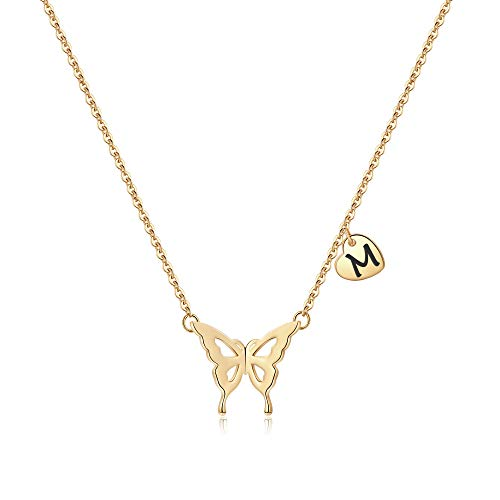 Iefil Initial Butterfly Necklace for Women, 14k Gold Filled Letter Initial Butterfly Necklace Dainty Butterfly Pendant Necklace Butterfly Jewelry Gifts...