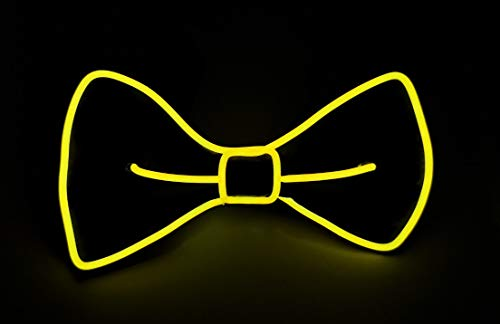 SOUTHSKY LED Bow Tie Fun Leuchtend Fliegen Neuheit Led Kostüm mit Led Licht Neon Lichter Blinker EL Draht Glowing Light Up Einstellbar Strap 4 Modes for Halloween Kostüm Cosplay Party (Gelb)
