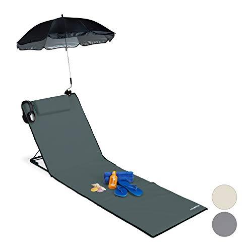 Relaxdays Strandmatte, gepolsterte Strandliege XXL m. Sonnenschirm, 3-stufig verstellbar, Kopfkissen, tragbar, anthrazit