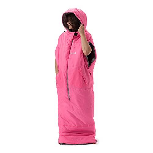 Lumaland Where Tomorrow Anziehbarer Schlafsack 210x80x60cm - 2-Wege Reißverschluss, mit Öffnungen für Arme und Füße - Outdoor Camping Body-Schlafsack - Pink