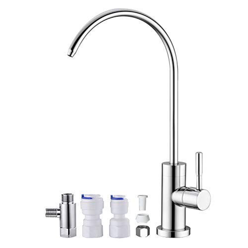 Anpean Drinking Water Faucet, Lead-Free, SUS304 Stainless Steel Kitchen Water Filter Faucet for Reverse Osmosis and Water Filtration Systems, Polished Chrome