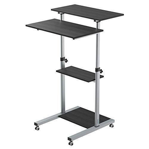 BONTEC Mobile Workstation Compact Stand-up Computer Presentation Cart Ergonomic with 4 Rolling Castors Moveable & Height Adjustable