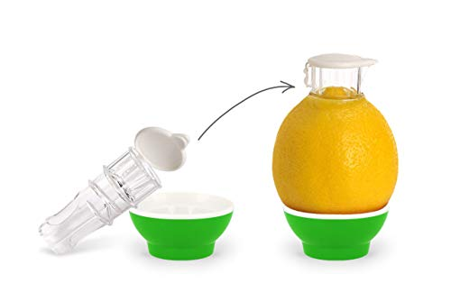 Patent-Safti Entsafter I Der Originale Safti Ausgießer für Zitronen, Orangen etc. I Einfacher als Jede Zitronenpresse oder Saftpresse I BPA frei, (Hell Grün)