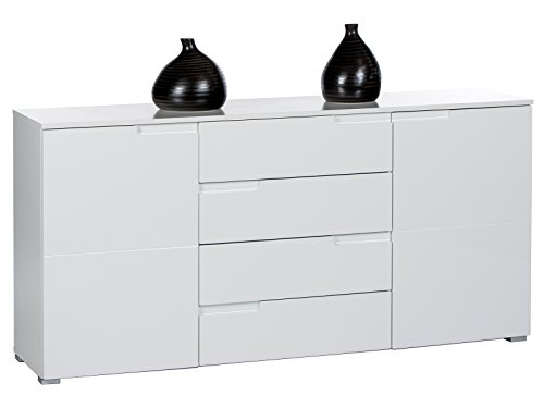 möbelando Sideboard Standschrank Anrichte Kommode Highboard Beistellkommode Suzette I Weiß/Weiß-Hochglanz
