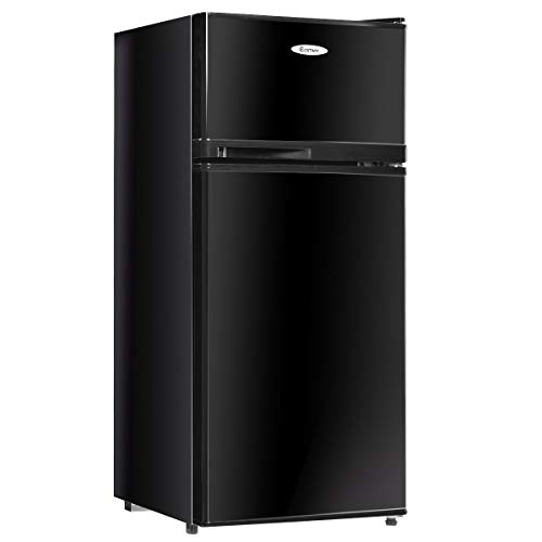Best Price Global Supplies 2 Doors 3.4 cu ft. Unit Cold-rolled Sheet Compact Mini Refrigerator (Blac...