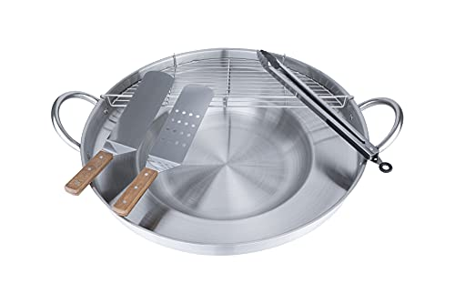 ARC Comal Set, 23' NSF Approval Heavy Duty Stainless Steel Concave Comal para Tacos Set,Discada Disc Cooker, Comal Cazo Fryer Cookware, Great Comal para Tortillas Taco Maker,Cooking Disco (575T Set)