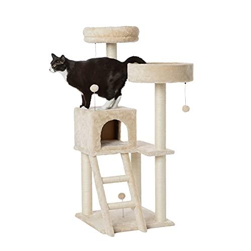 Amazon Basics – Großer Katzen-Kratzbaum mit zwei Plattformen und Haus, 48 x 127 x 48 cm, beige