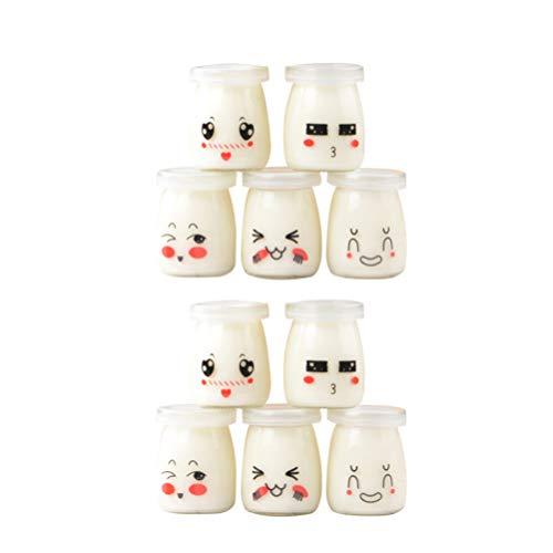 Hemoton Barattoli di Yogurt in Vetro Trasparente da 10 Pezzi Barattoli di Budino per Yogurt Mousse di Marmellata di Latte Bomboniere con Coperchi Motivo Casuale da 100 Ml