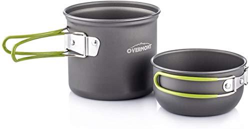 Overmont DS-101 アルミ クッカーセット アウトドア鍋 キャンピング 調理器具 食器 2点セット