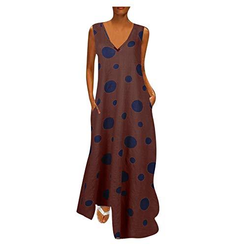Toppeed - Vestido de tirantes largo para mujer, con estampado de lunares, cuello en V, sin mangas, vestido grande, informal, para playa Du Vin XXXL