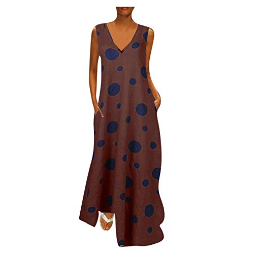 MOMOEW Women's Summer Polka Dot Dress Vintage Boho Midi Dress Beach Dresses Sexy V-Neck Front Crossover Bow Tie Dress Polka Dot Print Sleeveless Dress