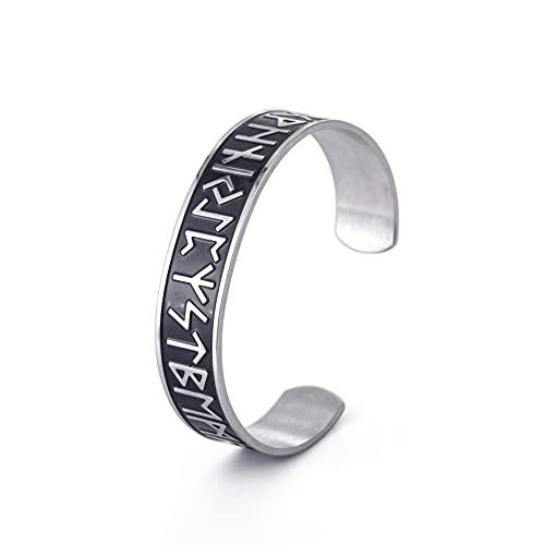 Dreamtimes Brazalete de runas vikingas, 24 runas nórdicas vikingas de acero inoxidable con símbolo clásico nórdico pulsera de joyería magnética para hombre y mujer