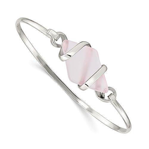 925 Sterling Silver Pink Sea Glass Bangle Bracelet Cuff Expandable Stackable Fine Jewellery For Women Gifts For Her