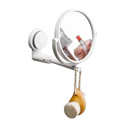 fikujap Espejo de tocador de Montaje en Pared, Gancho de Afeitar Incorporado y Brazo Ajustable Giratorio de 360 Grados, Montaje de succión de la Taza de Doble Cara de baño Espejo