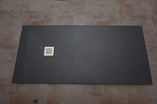 "Plato ducha resina textura pizarra ""Slate"". 70x100 cm. Blanco Ral. 9003"