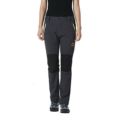 emansmoer Femme Pantalon Softshell Doublé Polaire Coupe-Vent Imperméable Outdoor Pantalon de Randonnée Camping Escalade (Large, Gris)