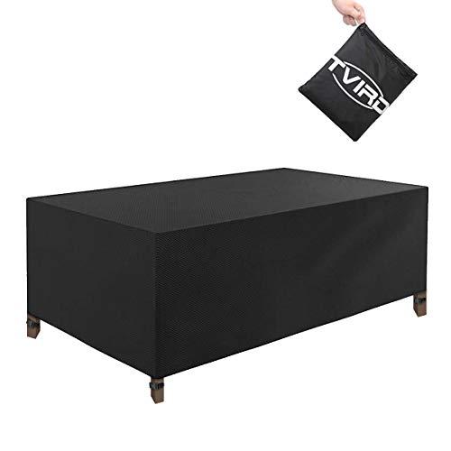 Tvird Funda para Muebles Impermeable 600D Oxford(200 x 165 x 80CM),Funda Mesa Jardin,Cubierta para Exterior Funda Protectora Muebles Mesas Sillas Sofás Exterior Impermeables Anti-Viento/UV-Negro
