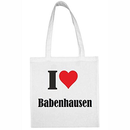 Tasche I Love Babenhausen Größe 38x42 Farbe Weiss Druck Schwarz