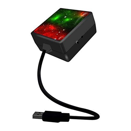 Shiwaki Proyector de luz de Estrella para Techo de Coche, 3 Modos de iluminación, proyector romántico Plug and Play decoración de Estrella USB para Techo de - Rojo, Verde