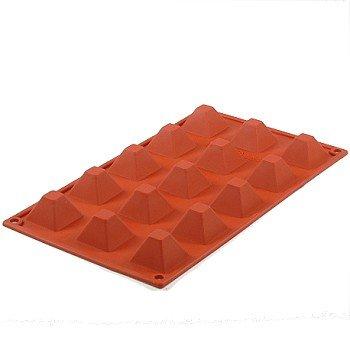 Silicone Bakeware 29.5x 17.5x 2.20cm Piccola Piramide Antiaderente 15-Cavity Stampo in Silicone di qualità, Rosso/Marrone
