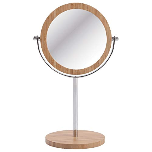 Sanjo Bambou et chrome Miroir sur pied. 2 Face. True et grossissement 3 x
