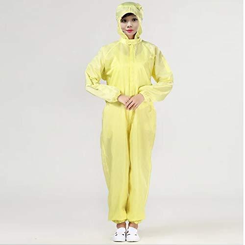 LITI Heatile beschermend pak, stofdicht, antistatisch en stofbestendig, veilig voor het omgaan met chemische gevaarlijke stoffen, bijtende stoffen, stoom etc, geel, S