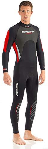 Cressi Morea Man Monopiece Wetsuit 3mm Traje de Buceo Neopreno para los Hombres, Negro/Rojo/Plata, S/2