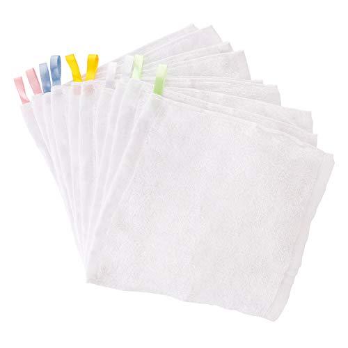 10er weiße Waschlappen Baby Handtücher Weich Waschtücher Gesichtstücher Kleine Tücher Putztücher aus hochwertigen Bambusfaser mit Hänge Seil Kinder Multifunktion 25x25cm Bambusfaser von Future Founder