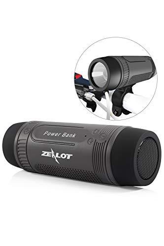 Outdoor Bluetooth Speakers Portable Wireless Bicycle Speaker Zealot S1 4000mAh Power Bank Splashproof with Microphone/LED Light/Full Outdoor Accessories (Bike Mount, Carabiner.)(Gray)