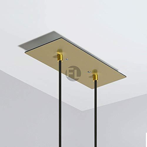 Baldachin rechteckig Lampe 2 loch (Lampenbaldachin, 30x12x0,3 cm) - messing