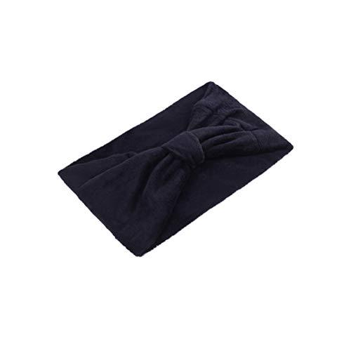 Minkissy Coral Polaire Bandeau Wide-Edge Cerceaux De Cheveux Sports Bande De Cheveux De La Mode Headwrap Bowknot Forme Headwear pour Femmes Filles Noi