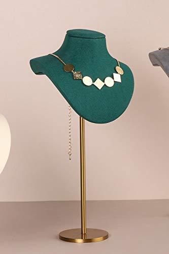 GemeShou Collar de terciopelo verde soporte de exhibición de joyería busto caballete soporte de exhibición metal oro cuello percha para exposición al por menor【terciopelo collar sostenedor verde】