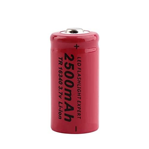 zhoudashu Batería De ión De Litio De 3.7v 2500mah 16340, Recargable para El Banco del Poder del MicróFono del Faro De La Linterna 1pcs