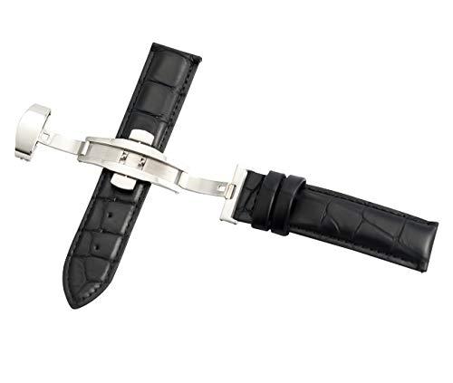 19 millimetri nero coccodrillo sostituzione cinturino cinturino di cuoio di grano da polso a sgancio rapido con chiusura a farfalla