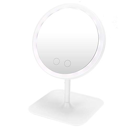 Cosmetic Mirror, LED Lighted Makeup Vanity Mirror USB Charging 5 Color Light Desktop Adjustable LED Makeup Mirrors for Home Travel Best Woman Gift(White)