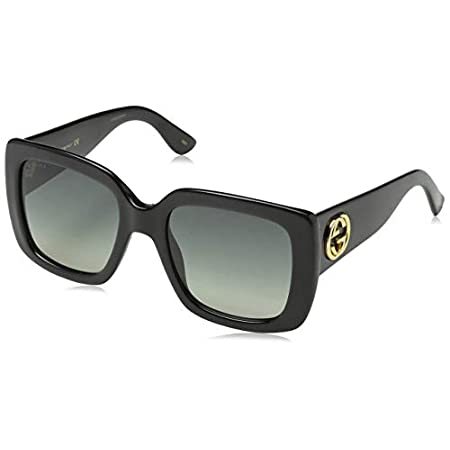 Fashion Shopping Gucci GG0141S 001 Black GG0141S Square Sunglasses Lens Category 2 Size 53mm