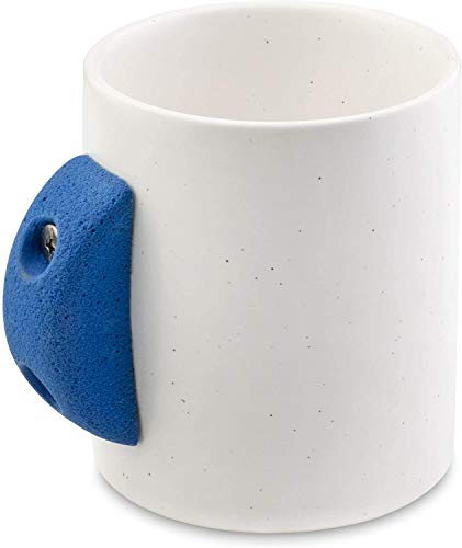 Novelty Coffee Mug with Indoor Rock Climbing Holds, 8 ounce, Classic Drink Cup with Rustic Resin Climber Equipment Attachment, Modern Speckled Finish (BLUE)
