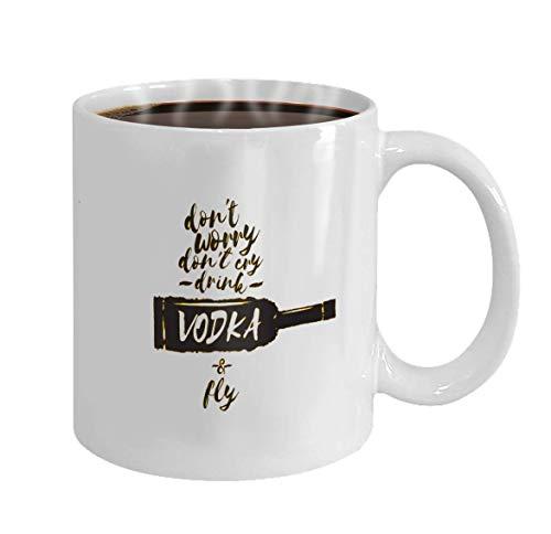 Koffiemok Cadeaubeker Maak je geen zorgen niet huilen drinken wodka en vliegen slogan grappige citaten over wodka met glazen fles voor afdrukken