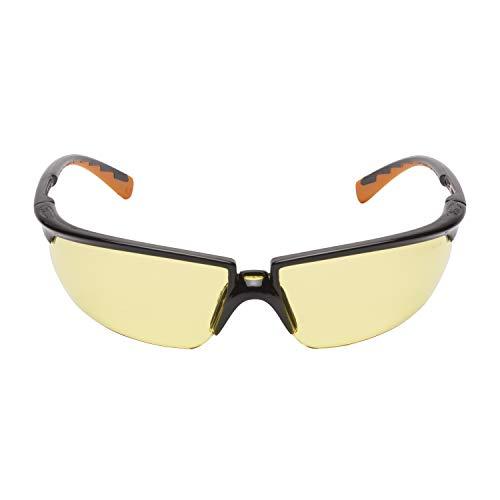 3M Solus Schutzbrille SOLYC1, gelb – Arbeitsschutzbrille für leichte Reparaturarbeiten – Anti-Kratz- & Anti-Beschlag-Beschichtung